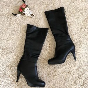 Lane Bryant NEW Wide Leg Below Knee Leather Boots